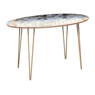 Earlville Dining Table Base Color: Brass, Top Color: Walnut