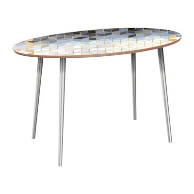Corinth Dining Table Base Color: Chrome, Top Color: Walnut