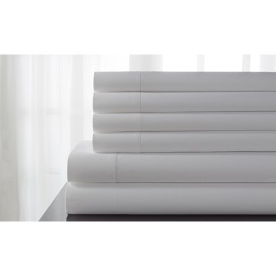 Tamalenus Hemstitch Solid Bonus 600 Thread Count Percale Sheet Set Color: White, Size: Queen