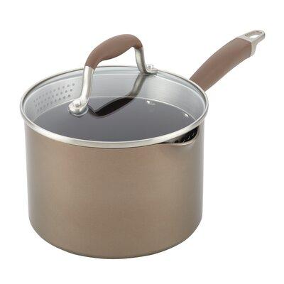 Advanced Bronze Hard-Anodized Nonstick Straining 3 qt. Saucepan with Lid Color: Bronze