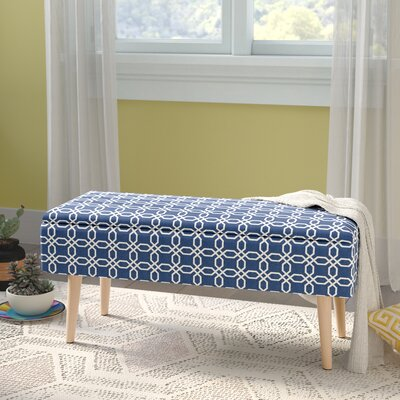 "Valdez Mid Century Upholstered Storage Bench Size: 17"" H x 37"" W x 15"" D, Color: Blue"