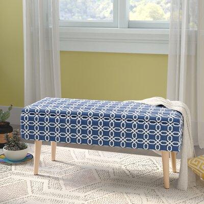 "Valdez Mid Century Upholstered Storage Bench Size: 17"" H x 37"" W x 15"" D, Color: Blue"