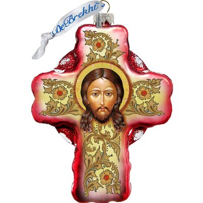Jesus Face Cross Shaped Ornament