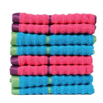 Alioto Ribbed Zero Twist 100% Cotton Washcloth Color: Honey Suckle/Hawaiian Ocean