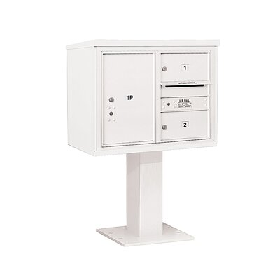 Pedestal Mounted 2 Unit 4 Door Front Load 4C Horizontal Cluster Box Unit with 1 Parcel Locker Mailbox Color: White