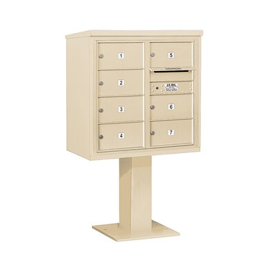 Pedestal Mounted 7 Units 8 Door Front Load 4C Horizontal Cluster Box Unit Mailbox Color: Sandstone