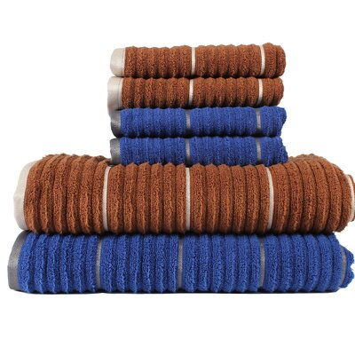 Alioto Ribbed Zero Twist 6 Piece 100% Cotton Towel Set Color: Toffee/Deep Sapphire