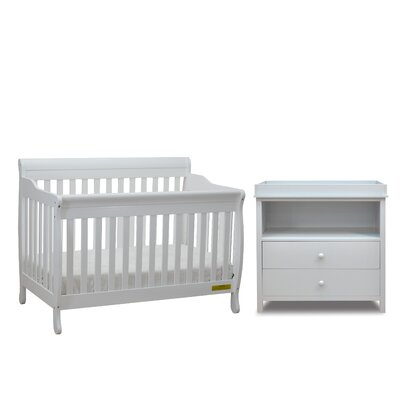 Jaden 3-in-1 Convertible 2 Piece Crib Set Color: White