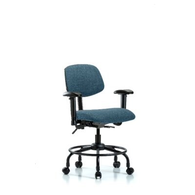 Atticus Round Tube Base Desk Height Ergonomic Office Chair Color (Upholstery): Blue, Tilt Function: Included