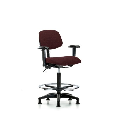 Estelle High Bench Office Chair Color (Upholstery): Burgundy, Casters/Glides: Glides, Tilt Function: Included