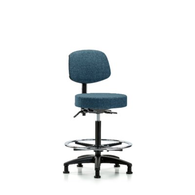 Jax High Bench Height Adjustable Lab Stool Seat Color: Blue, Foot Type: Glides