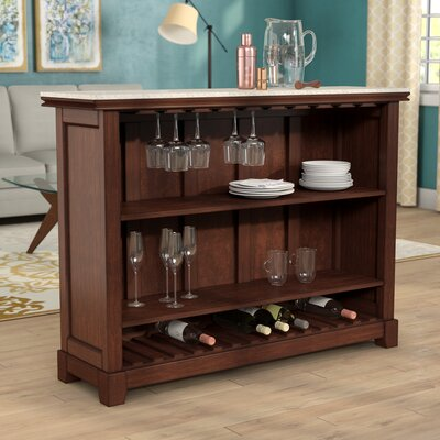 "Covington Counter Bar with Wine Storage Size: 42"" H x 56"" W x 18"" D"
