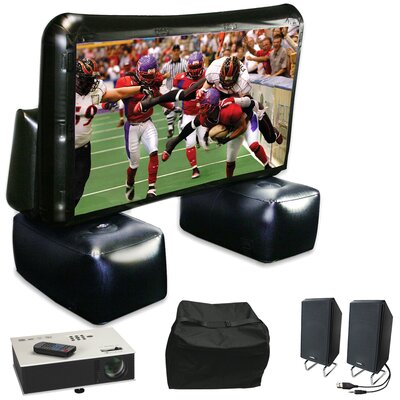"Instant Theater Inflatable White 72"" Portable Projection Screen with Projector, Speaker & Carry Bag"