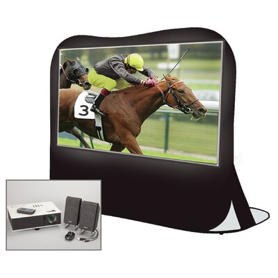 "Instant Theater Pop-Up White 84"" Portable Projection Screen with Projector, Speakers & Carry Bag"