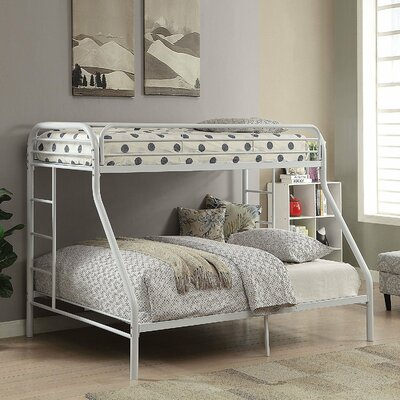 Kelm Metal Tube Twin Over Full Bunk Bed with Built-In Ladders and Full-Length Guard Rails Color: White