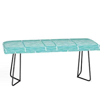 Shifting Pyramids Cyan Faux Leather Bench Color: Black