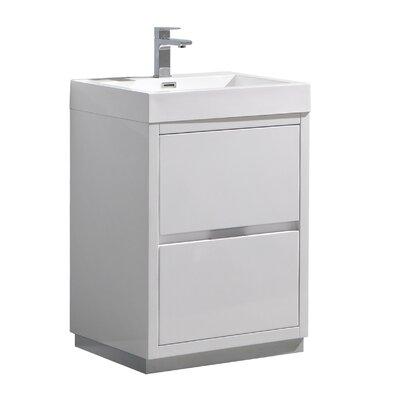 "Senza Valencia 24"" Single Bathroom Vanity Set Base Finish: Glossy White"