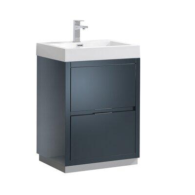 "Senza Valencia 24"" Single Bathroom Vanity Set Base Finish: Dark Slate Gray"