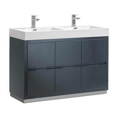 "Senza Valencia 48"" Double Bathroom Vanity Set Base Finish: Dark Slate Gray"