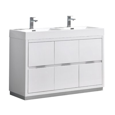 "Senza Valencia 48"" Double Bathroom Vanity Set Base Finish: Glossy White"