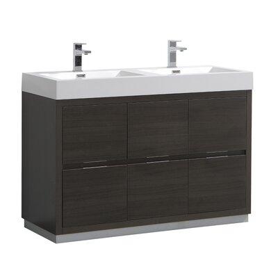 "Senza Valencia 48"" Double Bathroom Vanity Set Base Finish: Gray Oak"