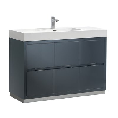 "Senza Valencia 48"" Single Bathroom Vanity Set Base Finish: Dark Slate Gray"