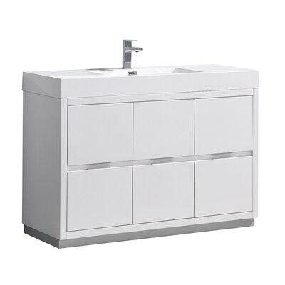 "Senza Valencia 48"" Single Bathroom Vanity Set Base Finish: Glossy White"