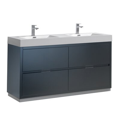 "Senza Valencia 60"" Double Bathroom Vanity Set Base Finish: Dark Slate Gray"
