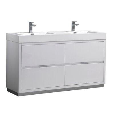 "Senza Valencia 60"" Double Bathroom Vanity Set Base Finish: Glossy White"