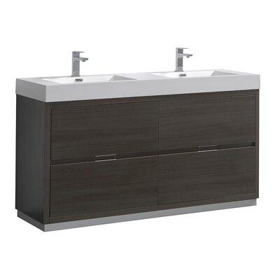 "Senza Valencia 60"" Double Bathroom Vanity Set Base Finish: Gray Oak"