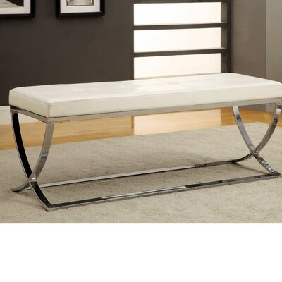 Haig Stylishly Compelling Metal Bench Color: White