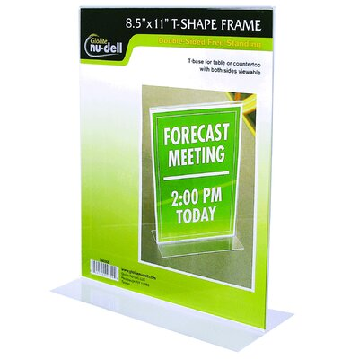 """Table Top Double Sided T-Base Freestanding Sign Display Frame Size: 11"""" H x 8.5"""" W x 3"""" D"""