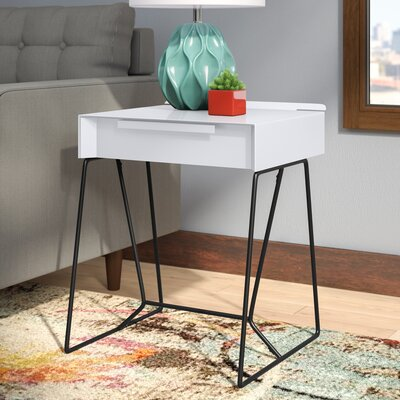 Backman End Table with Storage Color: White