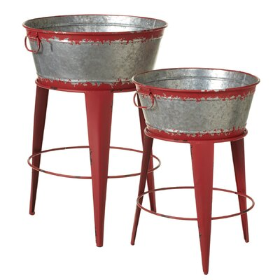 Adair 2 Piece Distressed Round Bucket Pedestal Plant Stand Set