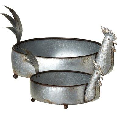 Etzelmueller Galvanized Rooster 2-Piece Metal Pot Planter Set