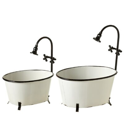 Welles Enamelware Bath Tub 2-Piece Metal Pot Planter Set