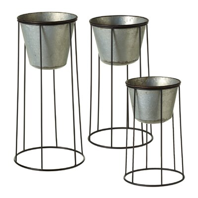 Alcalde Tapered Round with Stand 3-Piece Metal Pot Planter Set
