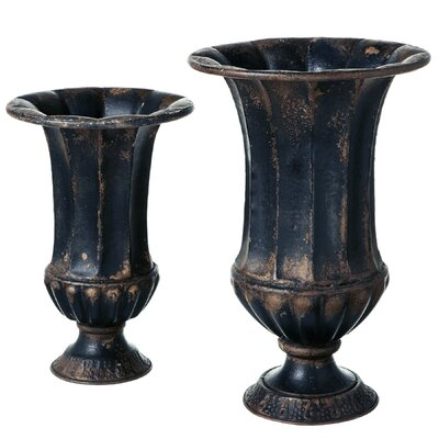 Mongillo Distressed 2-Piece Metal Urn Planter Set