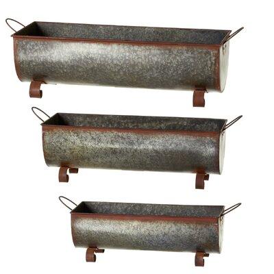 Albinson Rusted Galvanized Trough 3-Piece Metal Planter Box Set