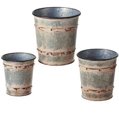 Archer Distressed Galvanized Round 3-Piece Metal Pot Planter Set