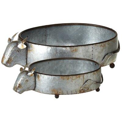 Albinson Galvanized Cow 2-Piece Metal Pot Planter Set