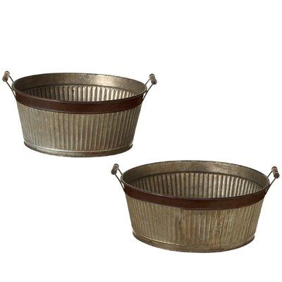 Albinson Galvanized Ribbed Washtub 2-Piece Metal Pot Planter Set