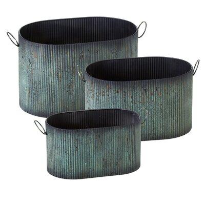 Albinson Ribbed Patina Oval 3-Piece Metal Pot Planter Set