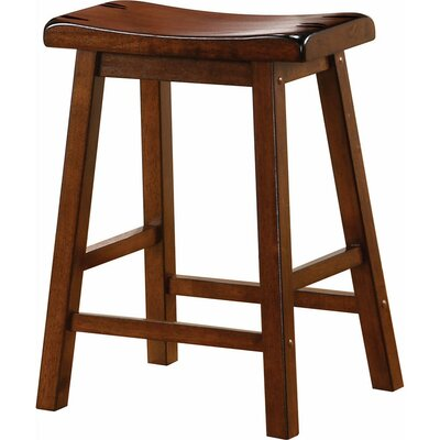 "Weisgerber Wooden Casual 23.75"" Counter Height Bar Stool Color: Chestnut Brown"