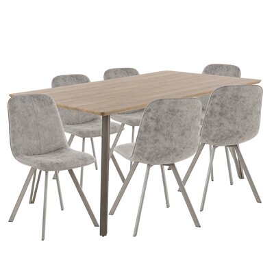 Pinnix 7 Piece Dining Set Chair Color: Gray, Table Top Color: Dark Brown