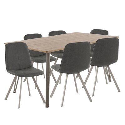 Pinnix 7 Piece Dining Set Chair Color: Black, Table Top Color: Dark Brown