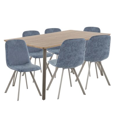 Pinnix 7 Piece Dining Set Table Top Color: Brown, Chair Color: Blue