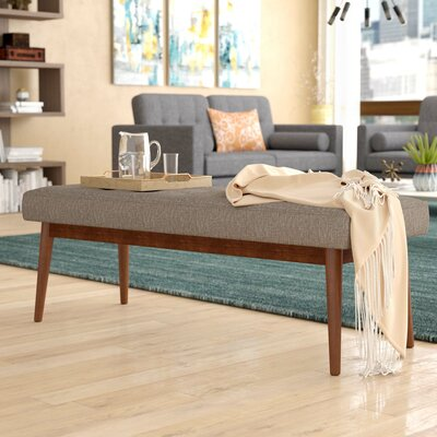 Valera Button Tufted Upholstered Bench Upholstery: Cement