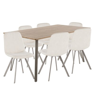 Pinnix 7 Piece Dining Set Chair Color: Cream, Table Top Color: Light Brown