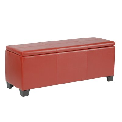 Martinez-Wilson Faux Leather Storage Bench Upholstery: Red